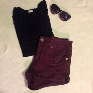 American Eagle Outfitters Ripped Maroon Shorts - 8